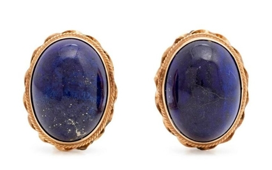 A Pair of Yellow Gold and Lapis Lazuli Earclips,