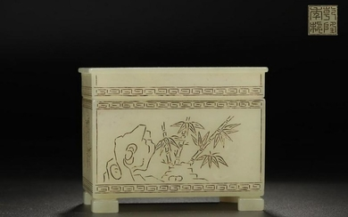 A QIANLONG MARK HETIAN JADE BOX WITH STORY CARVED