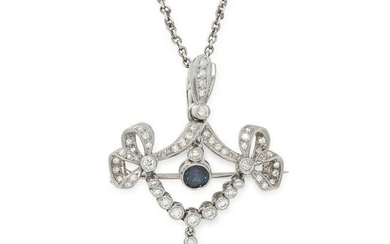 A SAPPHIRE AND DIAMOND BROOCH / PENDANT AND CHAIN in