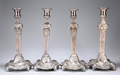 A SET OF FOUR OLD SHEFFIELD PLATE CANDLESTICKS, CIRCA