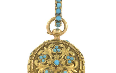 A late Georgian gold turquoise fob watch.