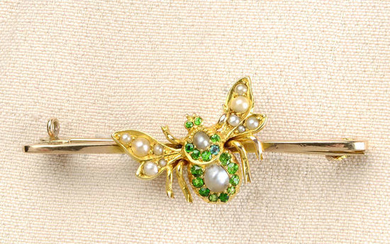 A late Victorian 15ct gold demantoid garnet and split pearl insect brooch, on later 9ct gold bar.