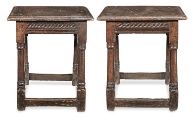 A pair of Charles I oak joint stools, West Country, circa 1640