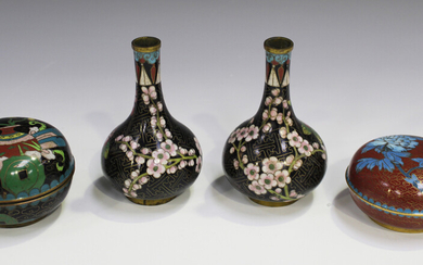 A pair of Chinese cloisonné bottle vases, early 20th century, each decorated with blossoming br