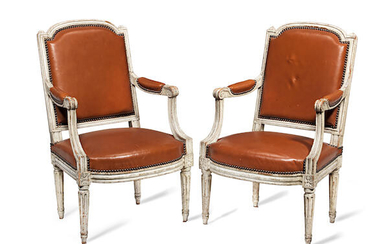 A pair of Louis XVI painted fauteuils