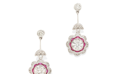 A pair of diamond and ruby ear pendants