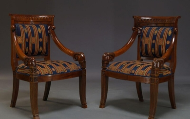 A pair of mahogany Empire style armchairs, late 20th Century,...