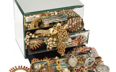 A quantity of costume jewellery, including: a...