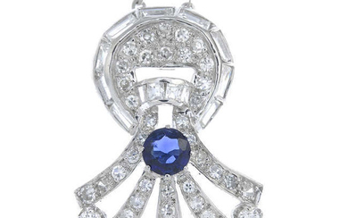 A vari-cut sapphire and diamond pendant, with chain.