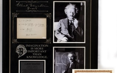 ALBERT EINSTEIN SIGNED SET OF MATHEMATICAL CALCULATIONS with the...