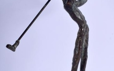 AN ABSTRACT BRONZE SCULPTURE IN THE FORM OF A GOLFER