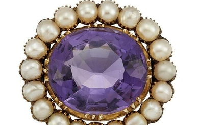 AN AMETHYST AND HALF PEARL BROOCH The oval-cut