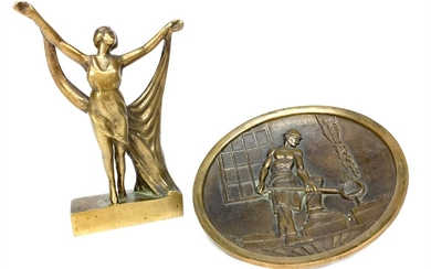 AN ART DECO STYLE BRONZE FIGURE AND A
