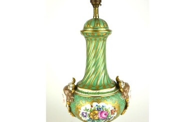 AN EARLY 20TH CENTURY GERMAN PORCELAIN LAMP Single baluster ...