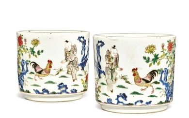 AN UNUSUAL PAIR OF FAMILLE-ROSE 'CHICKEN' JARDINIERES, QING DYNASTY, 19TH CENTURY