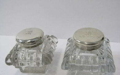 ANTIQUE INKWELLS, pair of silver mounted cut glass square fo...