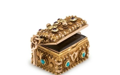 ANTIQUE, YELLOW GOLD AND GEMSTONE TREASURE CHEST CHARM