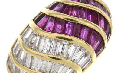 An 18ct gold diamond and ruby bombe ring, by Asprey.