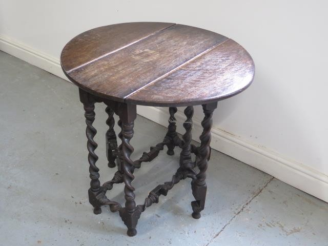 Oak Side Table On Twisted Legs 77cm X