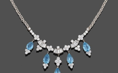 An Aquamarine and Diamond Necklace, four clusters of four round...
