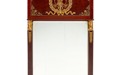 An Empire Style Gilt Bronze Mounted Mahogany Pier Mirror