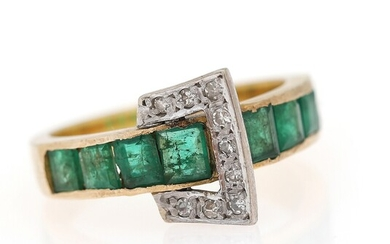 An emerald and diamond ring set with numerous carré-cut emeralds and single-cut diamonds, mounted in...