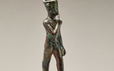 Ancient Egyptian Bronze LARGE HARPOCRATES - 20.8×6×8 cm - (1)