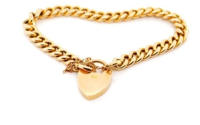 Antique 15ct yellow gold bracelet with curb chain links and ...