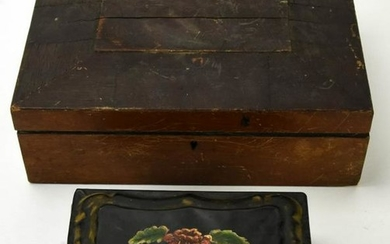 Antique 19th C Wooden & Tole Jewelry Boxes