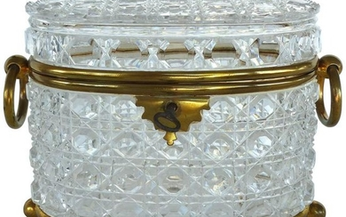 Antique Baccarat Cut Crystal Bronze Mounted Footed Oval
