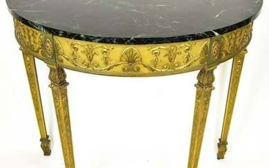 Antique French Empire Marble Top Demi Lune Table
