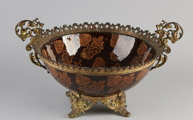Antique French gilt bronze historicism bowl with glass