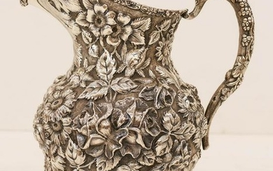 Antique Stieff Repousse Floral Sterling Water Pitcher