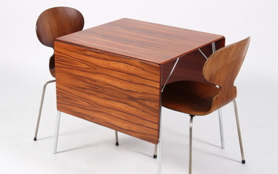 Arne Jacobsen. Folding table with 'Ant Chairs', rosewood (3)