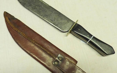 BOWIE KNIFE WITH 23CM CLIPPED BACK BLADE STAMPED WITH...