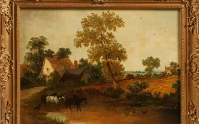BUCOLIC COTSWALD SCENE OIL ON CANVAS, 19TH C.