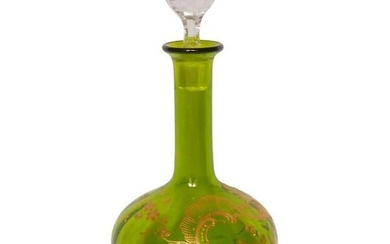Baccarat - Chartreuse green wine decanter with golden Louis XV decor - Crystal