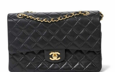CHANEL 'DOUBLE FLAP' BLACK QUILTED LEATHER BAG