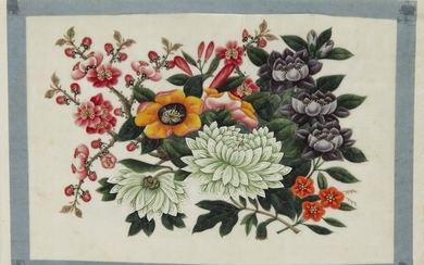 [CHINA — CHINESE SCHOOL] | An Album of Ten Watercolor and Gouache Drawings of Botanical Arrangements. [China: circa 1800]