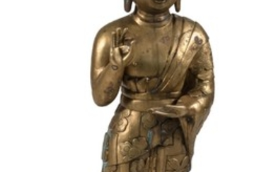"""CHINESE BRONZE FIGURE OF STANDING BUDDHA With a tightly curled top knot and flowing robes. Height 45.5""""."""