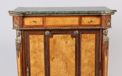 CONTINENTAL NEOCLASSICAL ONE-DOOR CABINET WITH GILT-METAL MOUNTS AND GREEN MARBLE...