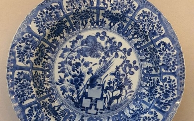 Charger, Dish, Plate - Blue and white - Porcelain - Flowers, Peacock- China - Kangxi (1662-1722)