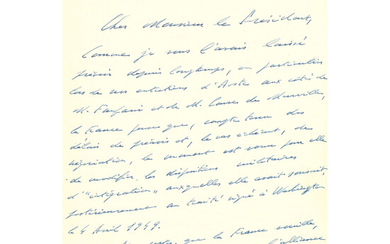 Charles de GAULLE (1890-1970) Autograph letter, signed. Paris, 9 march 1966 to the President of Italy Giuseppe SARGAT. 3 pages.