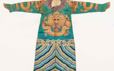 Chinese Dragon Robe Gold Thread with Silk Embroidery