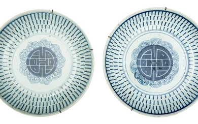 Chinese Pair of White and Blue Dishes with Fortune
