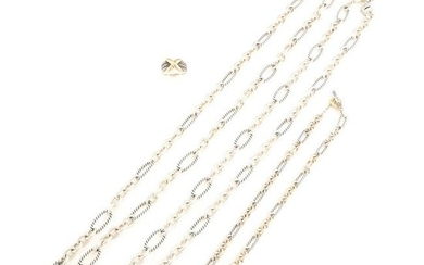 Collection of Four David Yurman Sterling Silver, 14k