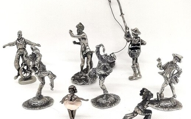 Collection of figurines depicting various characters (8) - .800 silver, .925 silver - Italy - Second half 20th century