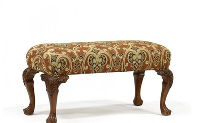 Continental Style Carved Mahogany Bench