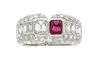 Diamond, Ruby, Platinum Ring The ring features an emerald-cut...