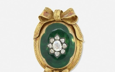 Diamond and enameled yellow gold brooch